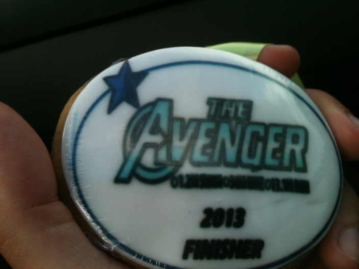 Finishers medal for the Half IM - it was edible!