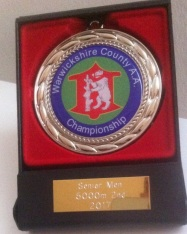 Warwickshire County 5000m Championships -Silver Medal